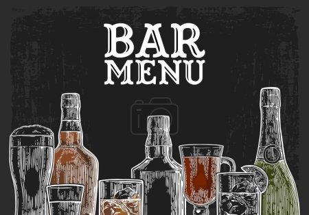 Template for Bar menu alcohol drink.