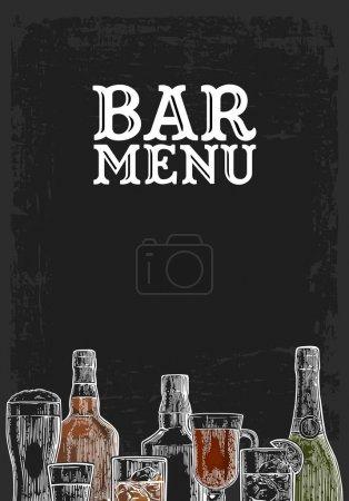 Illustration pour Modèle pour Bar menu boisson alcoolisée. Bouteille et verre de bière, gin, vin, whisky, tequila. Illustration de gravure vectorielle couleur vintage pour étiquette, affiche, invitation à la fête. Isolé sur un tableau noir - image libre de droit