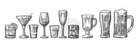 Illustration pour Set de bière en verre, whisky, vin, tequila, cognac, champagne, cocktails et grog. Illustration vintage noire gravée vectorielle isolée sur fond blanc . - image libre de droit