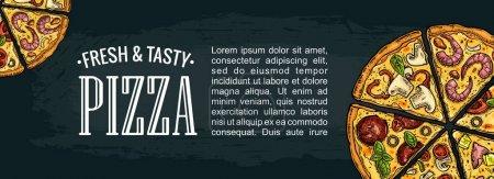 Illustration pour Affiche horizontale avec tranche de pizza Pepperoni, Hawaï, Margherita, Mexicain, Fruits de mer, Capricciosa. Illustration de gravure vectorielle vintage colorée. Pour le menu, boîte. Isolé sur fond sombre - image libre de droit