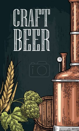 Vertical poster for craft beer. Tanks from brewery factory, hop.