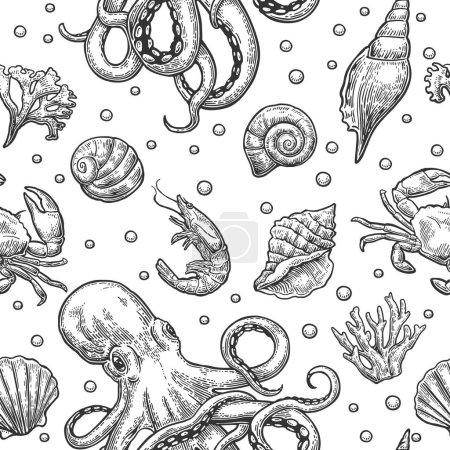 Photo pour Modèle sans couture coquille de mer, corail, crabe, poulpe et crevettes. Gravure vectorielle d'illustrations vintage noires. Isolé sur fond blanc . - image libre de droit