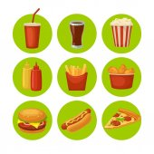Set fast food icon Cup cola chips burrito hamburger pizza chicken legs hotdog fry potato in paper box carton bucket popcorn ketchup Isolated green circle Vector flat color illustration