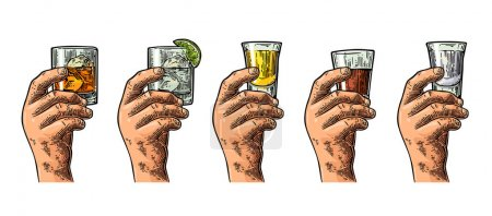Male hand holding glasses with tequila, vodka, rum, gin, whiskey.
