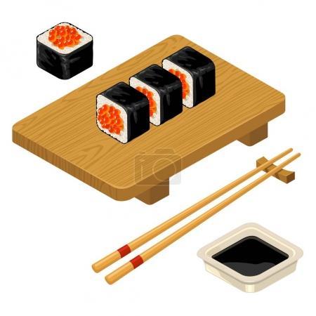 Sushi roll with caviar, chopsticks, soy sauce, wood board.