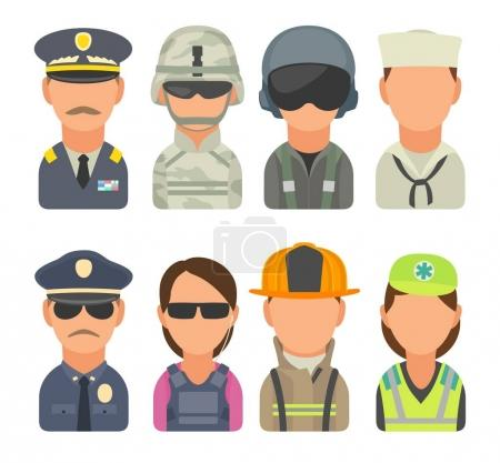 Icon people - soldier, officer, pilot, marine, sailor, police, bodyguard, fireman, paramedic.