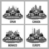 Set vintage poster Grand Prix Barcelona Spain Montreal Canada Monte Carlo Monaco Baku Europe Vector for poster web
