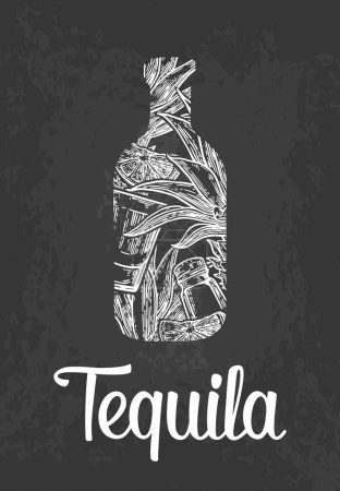 Bottle of tequila with glass, cactus, salt and lime.