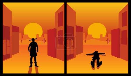 Wild west gunslinger. The shootout process of a co...