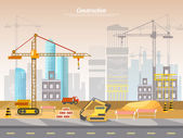 Construction site industrial background building a house