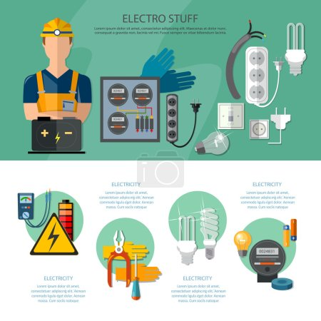 Professional electrician infographics electricity tools