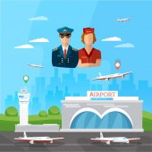 Airport pilot stewardess international airlines