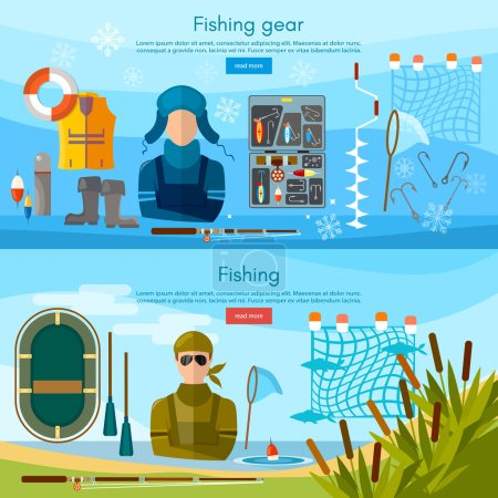 Summer and winter fishing banner, professional fishing
