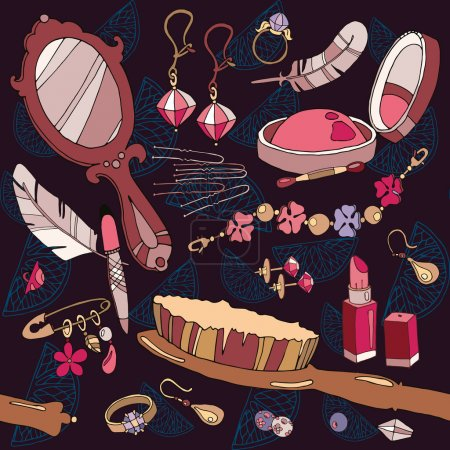 Fashion background woman accessories seamless pattern
