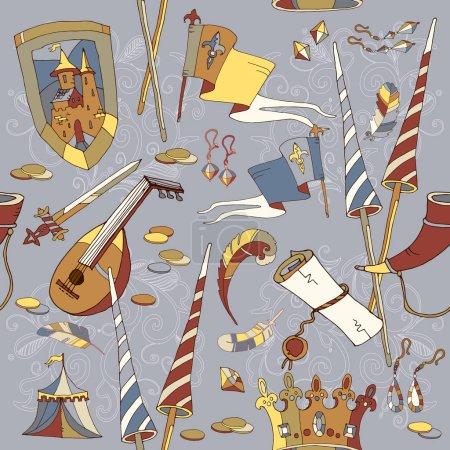 Medieval seamless pattern, castle, medieval sword, crown