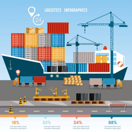 Illustration for Warehouse and shipping port infographics logistic, shipping and delivery vector illustration - Royalty Free Image