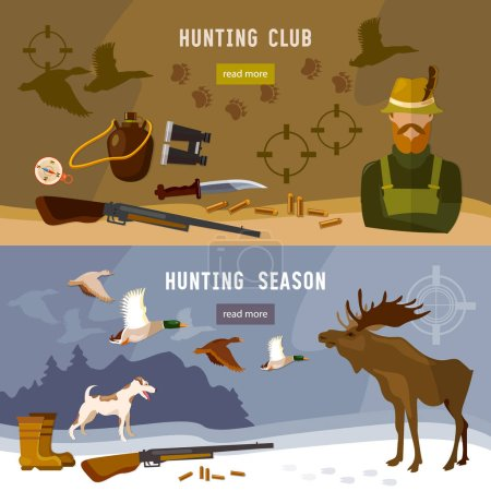 Hunting banners hunter with rifle and dog in forest