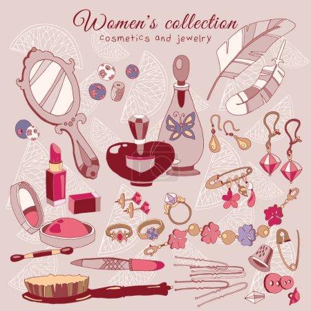 Womens female fashion accessories accessories. Cosmetics, jewele