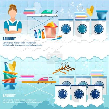 Illustration pour Bannière de service de blanchisserie bannière de vêtements de nettoyage à sec. Buanderie avec lave-linge, planche à repasser, étendoir, ménage chimique nettoyage - image libre de droit