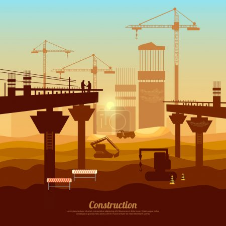 Large construction site vector, bridge construction with cranes