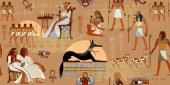Ancient Egypt seamless pattern Grunge Egypt background