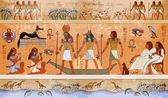 Ancient Egypt scene mythology Egyptian gods and pharaohs Hieroglyphic carvings on the exterior walls of an ancient temple Egypt background Murals ancient Egypt
