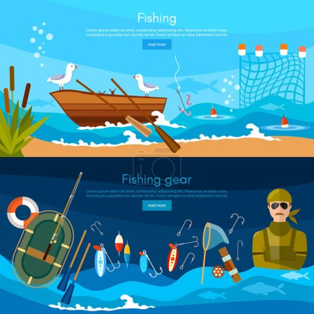 Professional fishing banners, fisherman catches fish