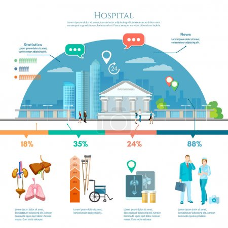 Medicine infographic hospital building, doctor and patient