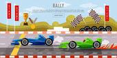 Car racing banner motor racing cars on a start line