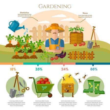 Illustration pour Infographie agricole, jardinage, produits agricoles naturels. Jardinage, agriculteur cultive des légumes sur sa terre vecteur de dessin animé - image libre de droit