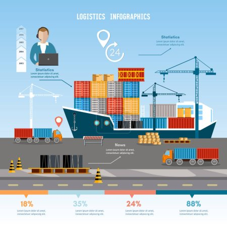 Shipping port vector.  Global delivery concept logistics set
