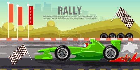 Car racing banner, car on a start line