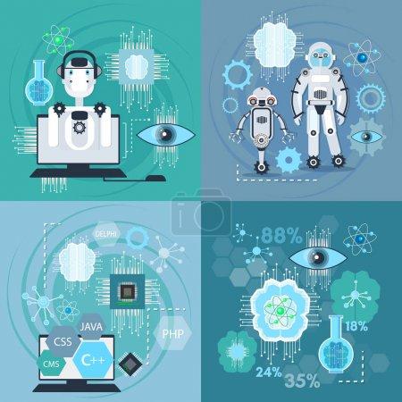 Illustration for Creation of robots, nanotechnologies set. Artificial intelligence, modern technologies, microchips development, future technologies vector - Royalty Free Image