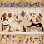 Ancient egypt scene Egyptian gods and pharaohs