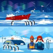 Travel to Antarctica banners Scientific station on North Pole