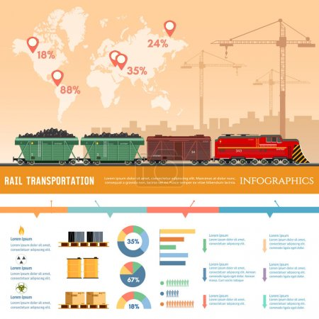 Freight trains infographics. Cargo train with coal