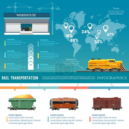 Freight trains infographics. Rail way. Cargo trans...