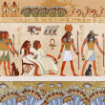 Egyptian gods and pharaohs. Ancient Egypt scene, m...