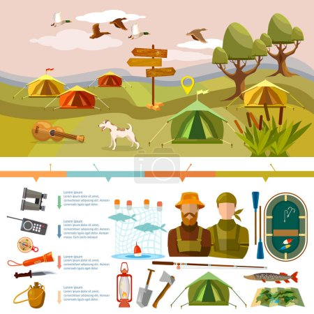 Illustration for Outdoor recreation infographics. Fishing, hunting, camping. Tourism and hike infographics. Outdoor presentation design - Royalty Free Image