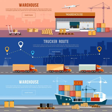 Illustration for Global logistics. Cargo transportation freighter industrial sea port. Shipment and unloading. Delivery and shipment, air cargo trucking maritime warehouse - Royalty Free Image
