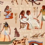 Ancient Egypt seamless pattern. Hieroglyphic carvi...
