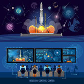 Mission Control Center start rocket in space Modern space