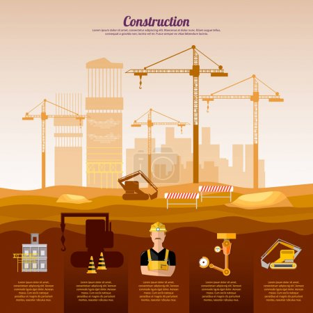 Construction site infographics design template industrial