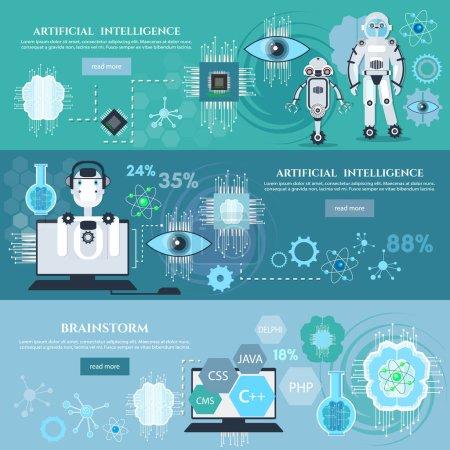 Illustration pour Intelligence artificielle infographie création de robots technologies modernes micropuces développement technologies futures - image libre de droit