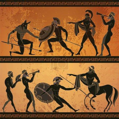 Bandera de la Antigua Grecia. Cerámica figura negra