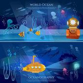 Sea exploration banner Oceanography concept