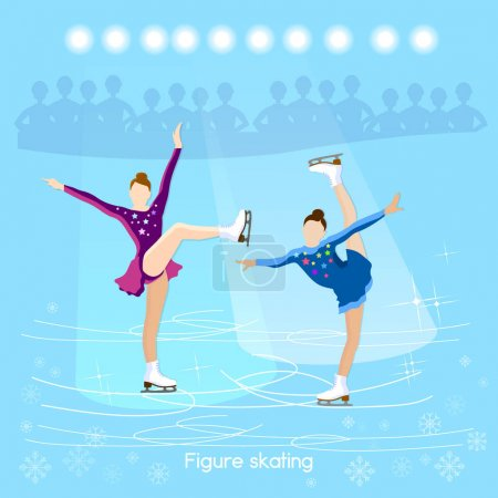Figure skating ice dancing winter sport cute girl training on the ice