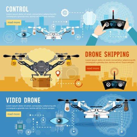 Bannière plat de drone. Drone pour la livraison, l'occultation