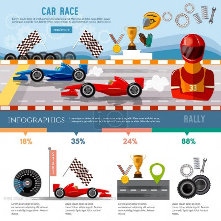 Car racing infographic, auto sport  racing formula cars