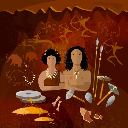 Illustration for Stone age, cave man and cave woman, neanderthal family in a cave, prehistoric tool. Neolithic, paleolith, mesolith, beginning of a civilization. Caveman art - Royalty Free Image